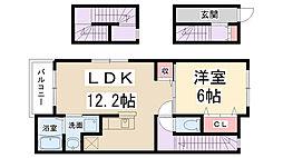 兵庫県伊丹市昆陽3丁目の賃貸アパートの間取り