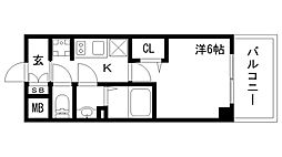 エステムコート神戸グランスタイル 12階1Kの間取り