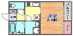 フローラ岡本[102号室]の間取り