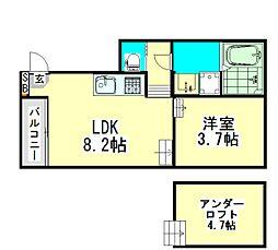 愛知県名古屋市中川区野田1丁目の賃貸アパートの間取り