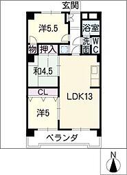 ハピネス藤ケ丘[6階]の間取り