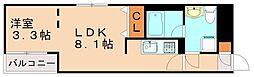 西鉄天神大牟田線 高宮駅 徒歩8分の賃貸マンション 2階1LDKの間取り