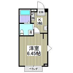 マリアージュ 久喜駅まで徒歩6分・新築1Kです[1階]の間取り