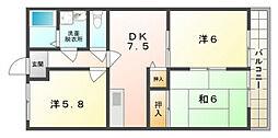 ファミール岸和田[1階]の間取り
