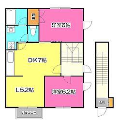 ウッディハウス A棟[2階]の間取り