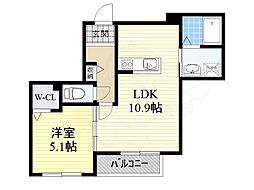 阪急京都本線 南茨木駅 徒歩14分の賃貸マンション 2階1LDKの間取り