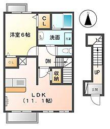 愛知県稲沢市稲島東3丁目の賃貸アパートの間取り