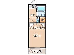 西庄第2マンション 1階1Kの間取り