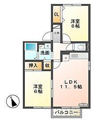 セジュール・タカノ[2階]の間取り