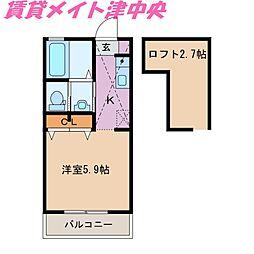 三重県津市栗真中山町の賃貸アパートの間取り