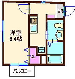 神奈川県横浜市神奈川区松本町3丁目の賃貸アパートの間取り