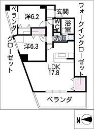 サンクチュアリ小幡[6階]の間取り
