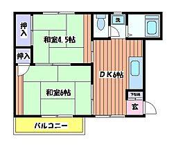 東京都立川市栄町2丁目の賃貸アパートの間取り