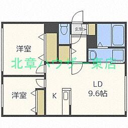 札幌市営東豊線 環状通東駅 徒歩7分の賃貸マンション 1階2LDKの間取り