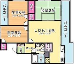 福岡県北九州市戸畑区高峰1丁目の賃貸マンションの間取り