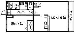 ヴァリー弐番館 1階1LDKの間取り