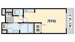 水間鉄道 三ヶ山口駅 徒歩7分の賃貸アパート 2階ワンルームの間取り