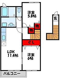 福岡県遠賀郡水巻町伊左座5丁目の賃貸アパートの間取り