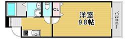 フジパレス若江岩田ノース 3階1Kの間取り