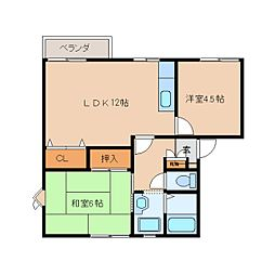 奈良県香芝市真美ケ丘2丁目の賃貸アパートの間取り