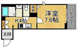阪神本線 杭瀬駅 徒歩11分の賃貸マンション 2階1Kの間取り