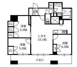 ブランズタワー南堀江[25階]の間取り