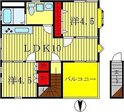ハイツ山崎[301号室]の間取り