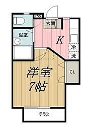 千葉県千葉市中央区松波3丁目の賃貸アパートの間取り