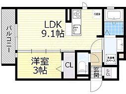 阪急宝塚本線 豊中駅 徒歩8分の賃貸アパート 3階1LDKの間取り