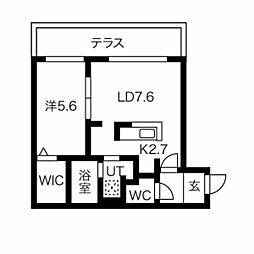 ブランシャール円山桜通り 1階1LDKの間取り