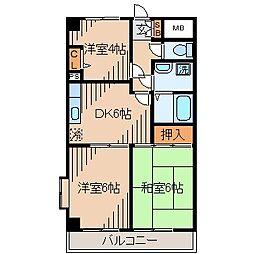 リバストーン神大寺[4階]の間取り