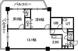 PRIME URBAN札幌リバーフロント[21階]の間取り