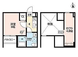 愛知県名古屋市西区押切2丁目の賃貸アパートの間取り