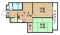 リオマ梅香[5階]の間取り