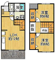 [テラスハウス] 兵庫県宝塚市米谷2丁目 の賃貸【/】の間取り