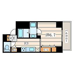 アムール香川 4階1Kの間取り