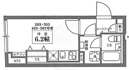 COCOCUBE井草 3階ワンルームの間取り