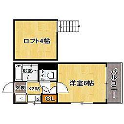 福岡県福岡市中央区地行2の賃貸アパートの間取り