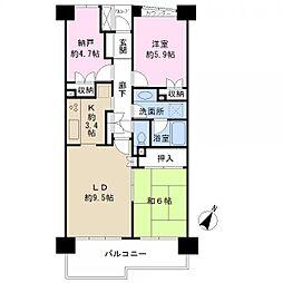川口弥平パーク・ホームズ 9階2SLDKの間取り