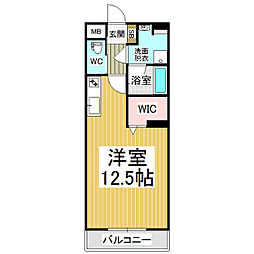 JR篠ノ井線 広丘駅 徒歩21分の賃貸マンション 4階ワンルームの間取り