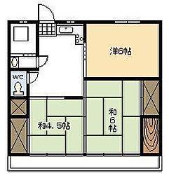第2日庄アパート[203号室]の間取り