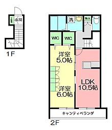 (仮称)平戸町メゾン A棟 2階2LDKの間取り