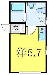 MODECO OYAMA 1階ワンルームの間取り