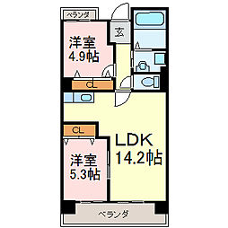ユーハウス鶴舞II[3階]の間取り