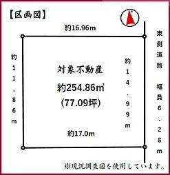 間口広々、前面道路も6m以上です。