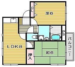 大阪府茨木市水尾3丁目の賃貸アパートの間取り