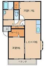 福岡県中間市中央1丁目の賃貸アパートの間取り
