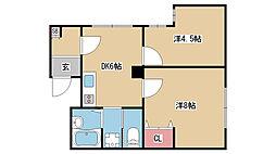 兵庫県神戸市兵庫区下沢通の賃貸マンションの間取り