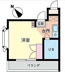 神奈川県横浜市神奈川区二ツ谷町の賃貸マンションの間取り