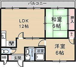 郡家マンションII[3階]の間取り